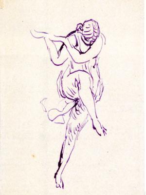 Croquis de la danseuse Isadora Duncan.