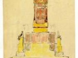 Dessin d'étude au monument du général Alvear.  Musée-jardin Bourdelle - Extrait du fascicule Librairie de France - L'œuvre de Bourdelle.